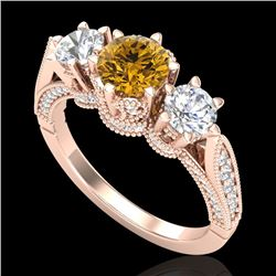 2.18 CTW Intense Fancy Yellow Diamond Art Deco 3 Stone Ring 18K Rose Gold - REF-254M5F - 38114