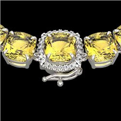 87 CTW Citrine & VS/SI Diamond Halo Micro Pave Necklace 14K White Gold - REF-335W6H - 23339