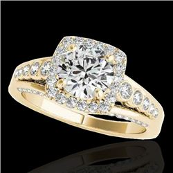 2 CTW H-SI/I Certified Diamond Solitaire Halo Ring 10K Yellow Gold - REF-247T3X - 34321