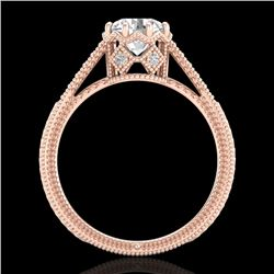 1.25 CTW VS/SI Diamond Solitaire Art Deco Ring 18K Rose Gold - REF-330X2T - 36906