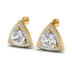3 CTW VS/SI Diamond Certified Stud Earrings 18K Yellow Gold - REF-824H3W - 20189