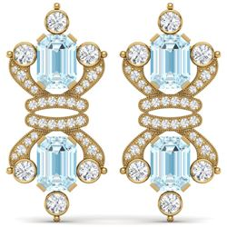 28.39 CTW Royalty Sky Topaz & VS Diamond Earrings 18K Yellow Gold - REF-490K9R - 38771
