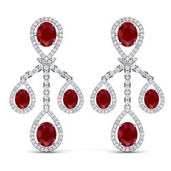 25.08 CTW Royalty Designer Ruby & VS Diamond Earrings 18K White Gold - REF-490Y9N - 38574