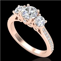 1.67 CTW VS/SI Diamond Solitaire Art Deco 3 Stone Ring 18K Rose Gold - REF-281X8T - 37029