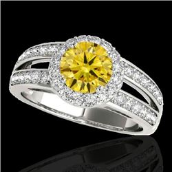 1.6 CTW Certified Si Fancy Intense Yellow Diamond Solitaire Halo Ring 10K White Gold - REF-180M2F -