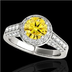 2.56 CTW Certified Si Fancy Intense Yellow Diamond Solitaire Halo Ring 10K White Gold - REF-345H5W -