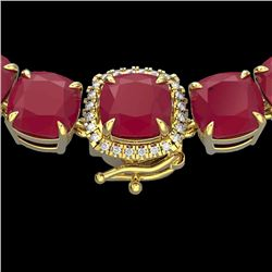 116 CTW Ruby & VS/SI Diamond Halo Micro Pave Necklace 14K Yellow Gold - REF-467M3F - 23360