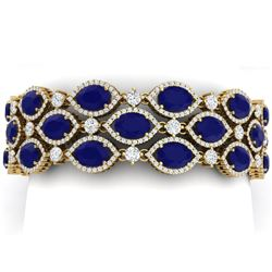 52.84 CTW Royalty Sapphire & VS Diamond Bracelet 18K Yellow Gold - REF-1145Y5N - 38894