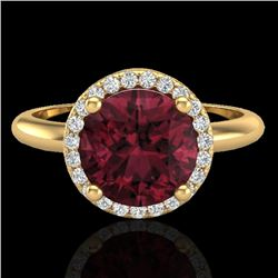 2.70 CTW Garnet & Micro Pave VS/SI Diamond Ring Designer Halo 18K Yellow Gold - REF-58M9F - 23213