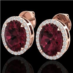 5.50 CTW Garnet & Micro VS/SI Diamond Halo Earbridal Ring 14K Rose Gold - REF-54M8F - 20250