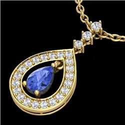 1.15 CTW Tanzanite & Micro Pave VS/SI Diamond Necklace Designer 14K Yellow Gold - REF-62M2F - 23174