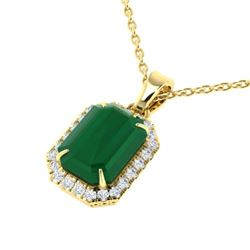 5.50 CTW Emerald & Micro Pave VS/SI Diamond Halo Necklace 18K Yellow Gold - REF-77T8X - 21359