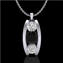 1.07 CTW Fancy Black Diamond Solitaire Art Deco Stud Necklace 18K White Gold - REF-94H5W - 37772