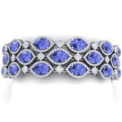 48.16 CTW Royalty Tanzanite & VS Diamond Bracelet 18K White Gold - REF-1236X4T - 38895