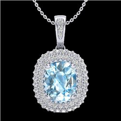 3 CTW Blue Topaz & Micro Pave VS/SI Diamond Certified Halo Necklace 10K White Gold - REF-65F5M - 204