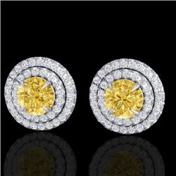 2 CTW Citrine & Micro Pave VS/SI Diamond Stud Earrings Double Halo 18K White Gold - REF-85F5M - 2146