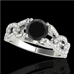 1.5 CTW Certified Vs Black Diamond Solitaire Ring 10K White Gold - REF-78K4R - 35217