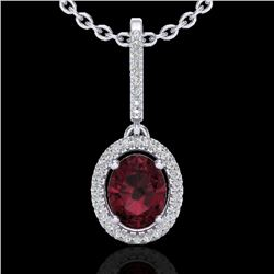 2 CTW Garnet & Micro Pave VS/SI Diamond Necklace Solitaire Halo 18K White Gold - REF-58M2F - 20661
