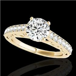1.4 CTW H-SI/I Certified Diamond Solitaire Ring 10K Yellow Gold - REF-161F8M - 35016
