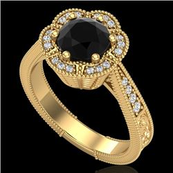 1.33 CTW Fancy Black Diamond Solitaire Engagement Art Deco Ring 18K Yellow Gold - REF-89X3T - 37956
