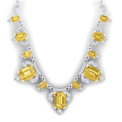 71.48 CTW Royalty Canary Citrine & VS Diamond Necklace 18K White Gold - REF-963K6R - 38757