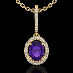 1.75 CTW Amethyst & Micro Pave VS/SI Diamond Necklace Halo 18K Yellow Gold - REF-53F8M - 20648