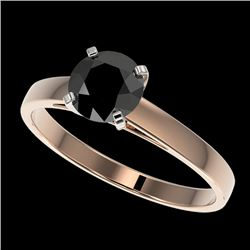 1.08 CTW Fancy Black VS Diamond Solitaire Engagement Ring 10K Rose Gold - REF-35H5W - 36514