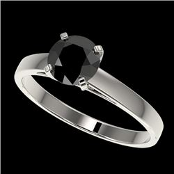 1 CTW Fancy Black VS Diamond Solitaire Engagement Ring 10K White Gold - REF-34N2Y - 32984