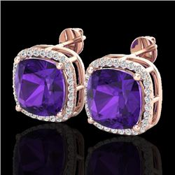 12 CTW Amethyst & Micro Pave Halo VS/SI Diamond Earrings 14K Rose Gold - REF-78M2F - 23056