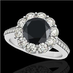 2 CTW Certified Vs Black Diamond Solitaire Halo Ring 10K White Gold - REF-94F8M - 33251