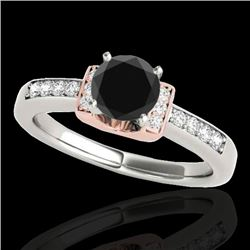 1.11 CTW Certified Vs Black Diamond Solitaire Ring Two Tone 10K White & Rose Gold - REF-45Y5N - 3483