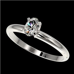0.50 CTW Certified VS/SI Quality Oval Diamond Engagement Ring 10K White Gold - REF-77K6R - 32865
