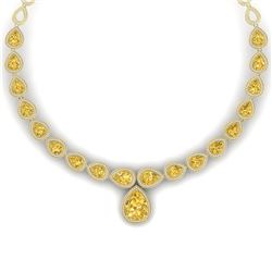 48.24 CTW Royalty Canary Citrine & VS Diamond Necklace 18K Yellow Gold - REF-781H8W - 39434
