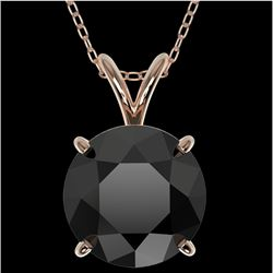 2.50 CTW Fancy Black VS Diamond Solitaire Necklace 10K Rose Gold - REF-61N5Y - 33244