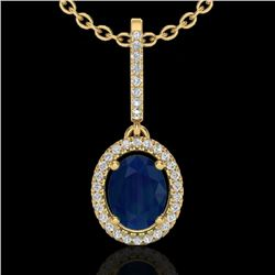2 CTW Sapphire & Micro Pave VS/SI Diamond Necklace Halo 18K Yellow Gold - REF-69H3W - 20670