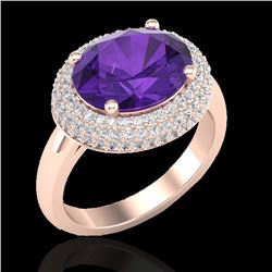 4 CTW Amethyst & Micro Pave VS/SI Diamond Certified Ring 14K Rose Gold - REF-89F8M - 20901