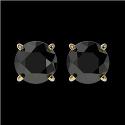 1.61 CTW Fancy Black VS Diamond Solitaire Stud Earrings 10K Yellow Gold - REF-43H6W - 36614