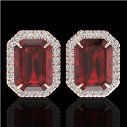 12 CTW Garnet And Micro Pave VS/SI Diamond Certified Halo Earrings 14K Rose Gold - REF-65W6H - 21226