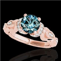 1.2 CTW SI Certified Fancy Blue Diamond Solitaire Antique Ring 10K Rose Gold - REF-161X8T - 34681