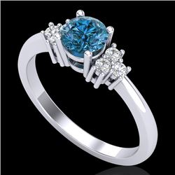 0.75 CTW Fancy Intense Blue Diamond Engagement Classic Ring 18K White Gold - REF-101F8M - 37586