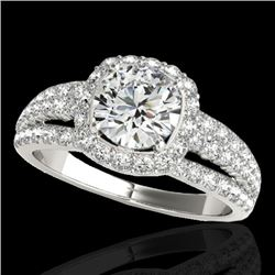 2 CTW H-SI/I Certified Diamond Solitaire Halo Ring 10K White Gold - REF-180K2R - 33998