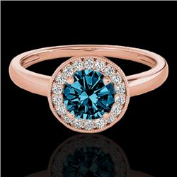 1.15 CTW SI Certified Fancy Blue Diamond Solitaire Halo Ring 10K Rose Gold - REF-152X8T - 33469