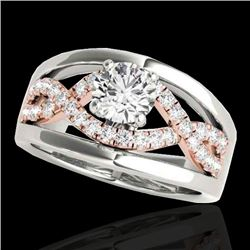 1.3 CTW H-SI/I Certified Diamond Solitaire Ring Two Tone 10K White & Rose Gold - REF-180H2W - 35289