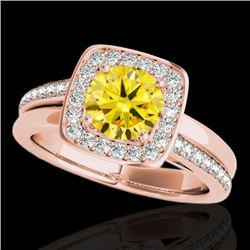 1.33 CTW Certified Si Fancy Intense Yellow Diamond Solitaire Halo Ring 10K Rose Gold - REF-176F4M -