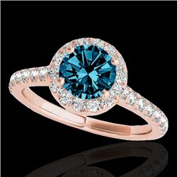 1.4 CTW SI Certified Fancy Blue Diamond Solitaire Halo Ring 10K Rose Gold - REF-160Y2N - 33586