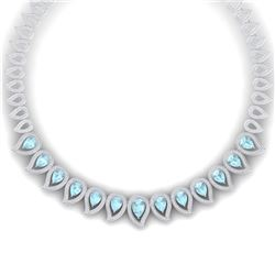 34.96 CTW Royalty Sky Topaz & VS Diamond Necklace 18K White Gold - REF-1145M5F - 39444