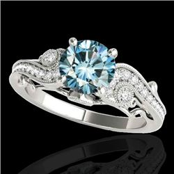 1.5 CTW SI Certified Fancy Blue Diamond Solitaire Antique Ring 10K White Gold - REF-200N2Y - 34806