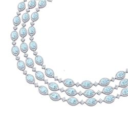 84.57 CTW Royalty Sky Topaz & VS Diamond Necklace 18K White Gold - REF-1436T4X - 38952