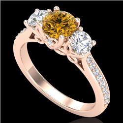 1.67 CTW Intense Fancy Yellow Diamond Art Deco 3 Stone Ring 18K Rose Gold - REF-200F2M - 37813