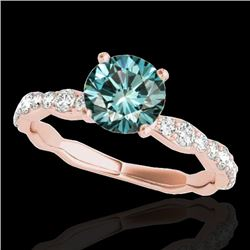 1.4 CTW SI Certified Fancy Blue Diamond Solitaire Ring 10K Rose Gold - REF-156H4W - 34877